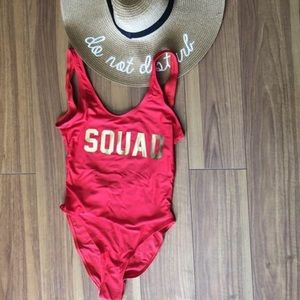 Red and Gold Squad Swimsuit - Brand New